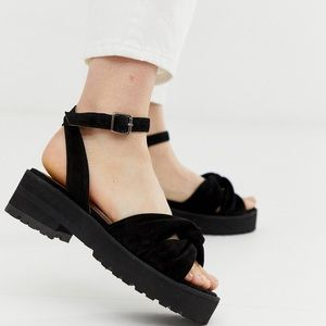 Free People Essex Chunky Suede Strap Sandals Black